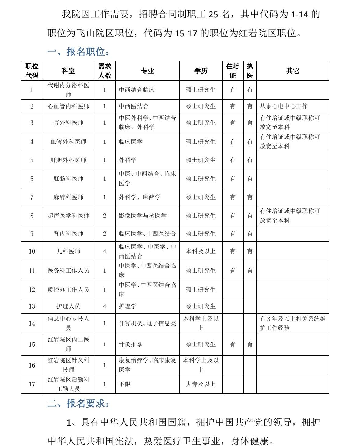 贵州中医药大学第二附属医院合同制职工招聘25人公告图1