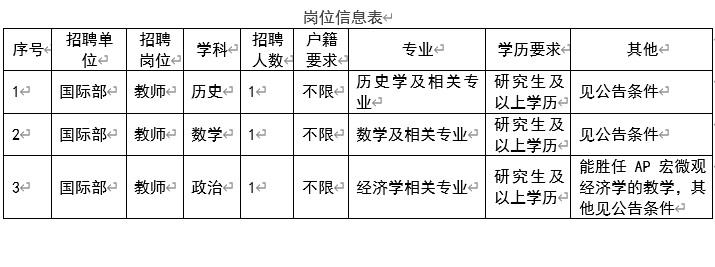 北师大实验中学国际部2021年度招聘公告